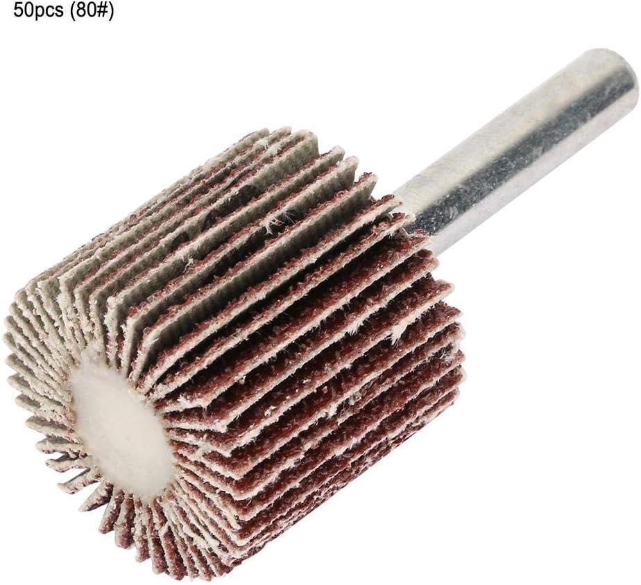 80# CHUNSHENN 50PCS Sanding Polishing Flap Wheel Disc Sandpaper FlapShank 25 25 6mm Abrasive Accessories