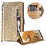 Luxury Glitter Bling Zipper Wallet Phone Case for Samsung Galaxy S9, MOIKY Bookstyle PU Leather Flip Folio Magnetic Purse Pockets Credit Card Holder Wrist Strap Case Cover for Samsung Galaxy S9 - Gold