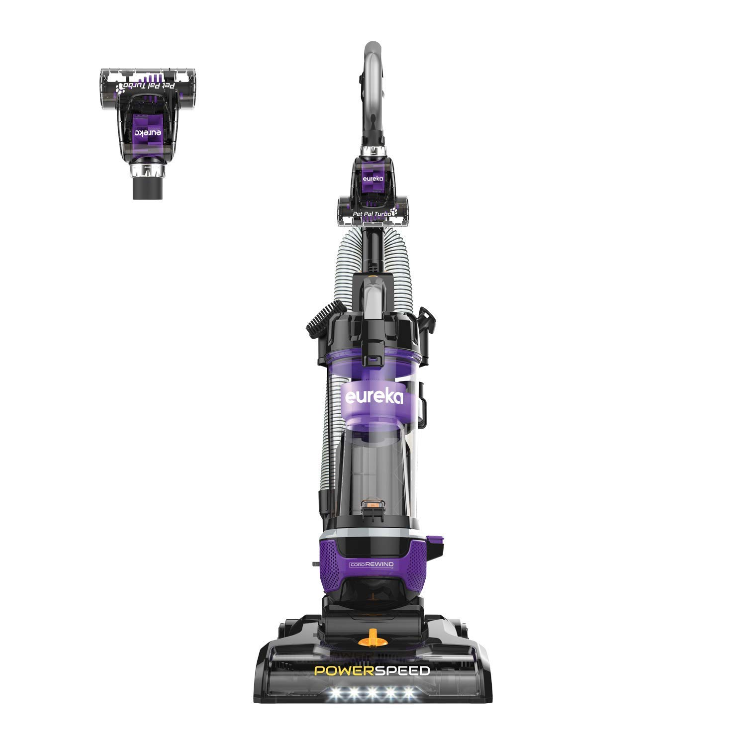 Eureka NEU202 PowerSpeed Pet Bagless Upright Vacuum Cleaner with Automatic Cord Rewind and LED Headlight, Purple (Renewed)
