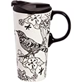 Cypress Home Color Your Own Ceramic Travel Coffee Mug, 17 ounces with Markers (Botanical Birds)