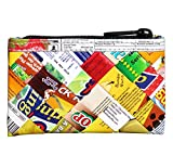 Zip coin purse made of candy wrappers PRIME Upcycled style eco friendly vegan recycled from reclaimed repurposed reused materials pouch case gift gifts gum sweets wrap wrapper wraps upcycle recycle