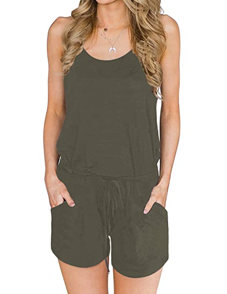 03b60d79f827 Amazon.com  ANRABESS Women Summer Loose Solid Sleeveless Jumpsuit Rompers  Spaghetti Strap Adjustable Waist Short Pant Rompers  Clothing