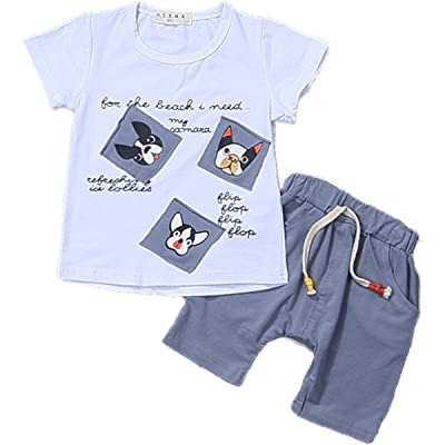 2 Pcs Baby Kids Boys Cotton Summer Dog Print Causal T-shirt Tops With Soild Short Pants Outfits Set