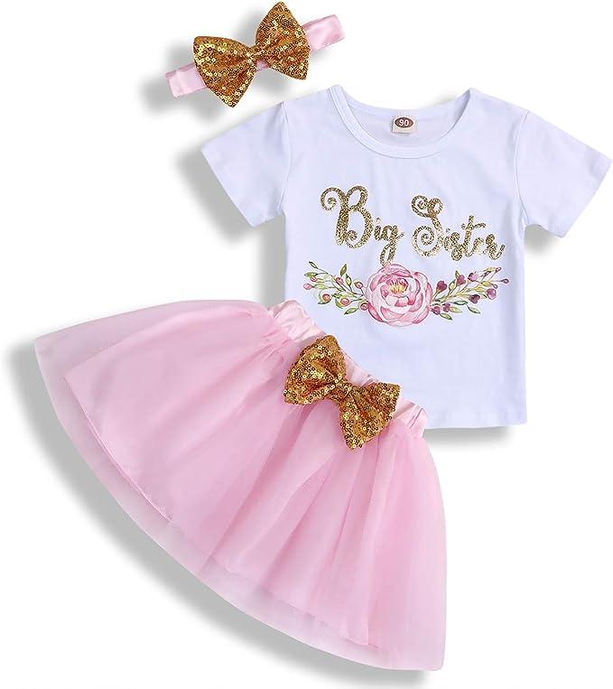 Puloru Christmas Outfits Toddler Little Big Sister T Shirt Long Sleeve Romper Top Plaid Skirt Dress Headband Xmas Clothes