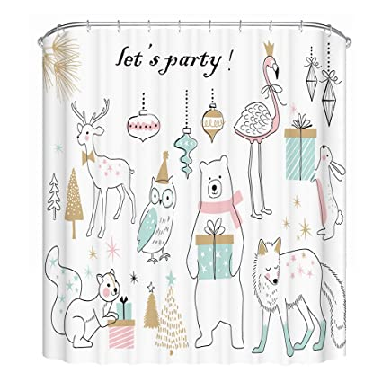 Lecoda Flamingo Shower Curtain European Style Waterproof Bath Polyester Fabric 72W By 72H Bathroom