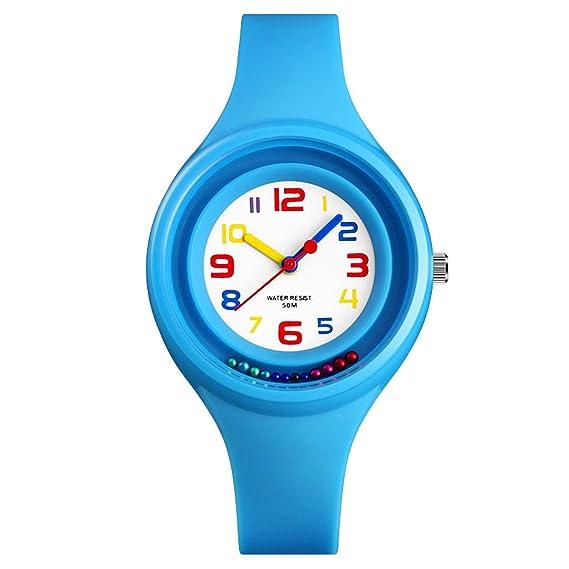 Kdis Relojes Analógico Cuarzo Jelly Reloj Impermeable Niños Niñas Adolescentes Estudiantes Reloj de Pulsera Azul