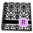 """3dRose db_154393_3 Personal Initial R Monogrammed Pink Black And White Damask Pattern Girly Stylish Personalized Letter Mini Notepad, 4"""" x 4"""""""