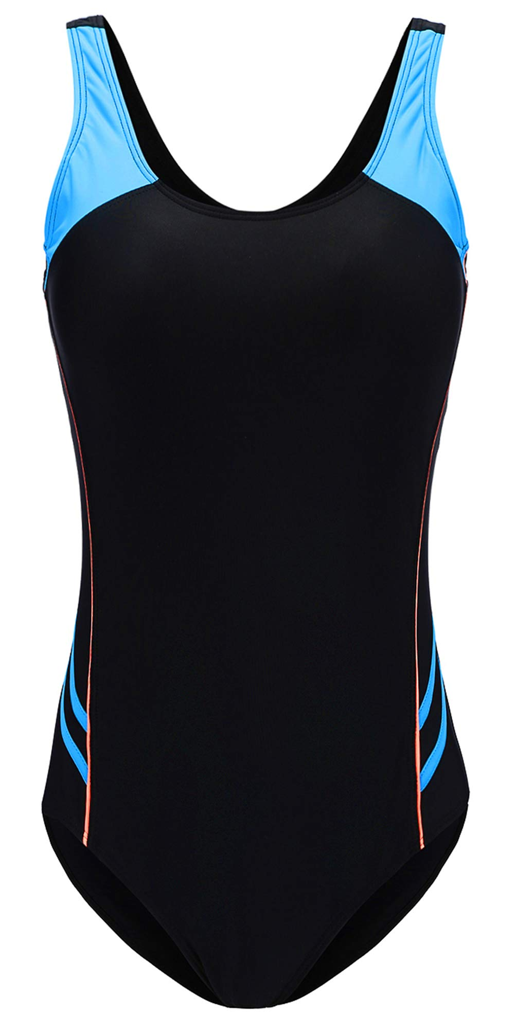 EBMORE Womens One Piece Swimsuit Bathing Suit Chlorine Resistant For Athletic Sport Training Exercise (XL/US (10-12), Black)
