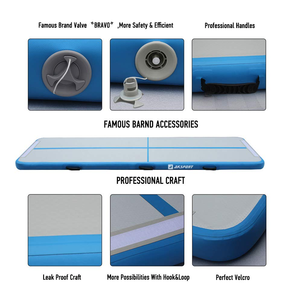 Air Track Gymnastics Tumbling Mat Inflatable Floor Mats with Electric Air Pump for Home Use//Tumble//Gym//Training//Cheerleading//Parkour//Beach//Park//Water 3.3//10//13.12//16.4//20//23-39ft