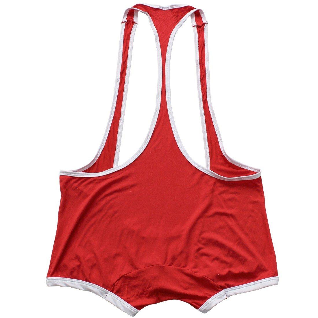Freebily Men's Suspenders Boxer Wrestling Singlet Leotard Jockstrap Bodysuit Swimsuit Red Medium(Waist:31.0-47.0''/78-120cm)