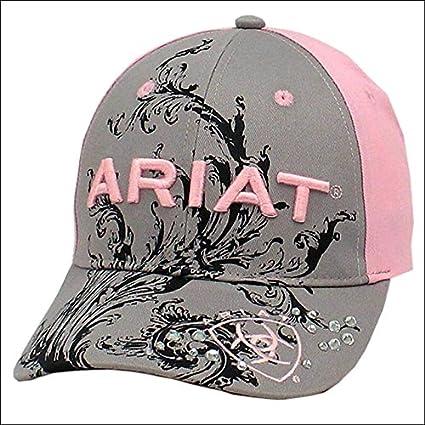 Ariat para mujer, vaquera Scroll Logo ajustable Gorra de béisbol gris rosa