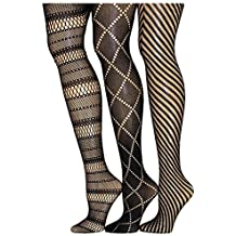 Frenchic Fishnet Lace Stocking Tights Extended Sizes (Pack of 3)