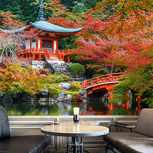 Red Accent Temple (Ancient Japanese Temple Red Floral Trees Wall Mural Religion Photo Wallpaper available in 8 Sizes Gigantic Digital)