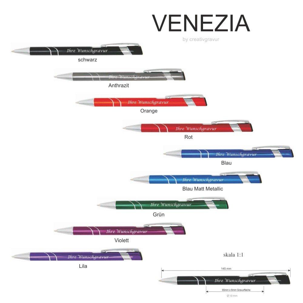 Farben sortenrein oder Gemischt alle mit gleicher Gravur Kugelschreiber VENEZIA mit Lasergravur // Gravur Metall 9 Farben zur Auswahl Menge:10 St/ück
