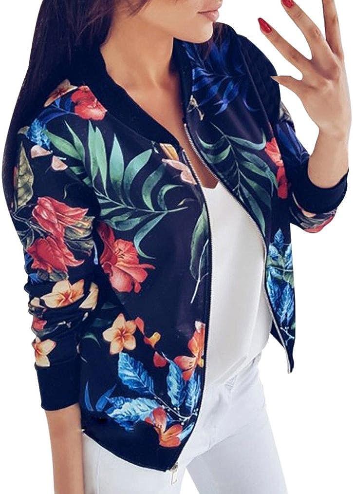 Gillberry Women Stand Collar Long Sleeve Zipper Floral Printed Bomber Jacket Blue, XXL