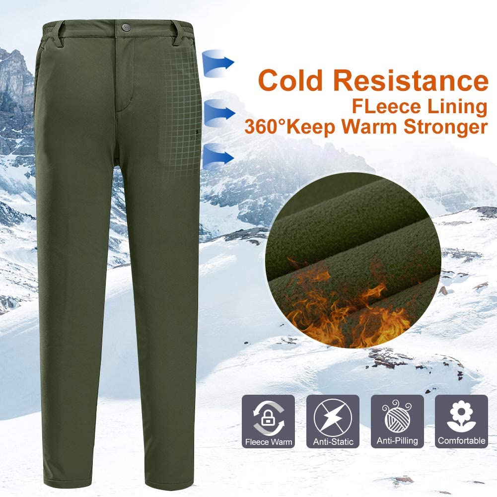 CAMEL CROWN Womens Hiking Softshell Pants Waterproof Fleece Lined Insulated Trousers Winter Outdoor Ski Snow