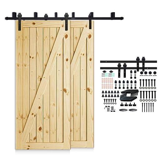 Kit de gu/ía para puerta corredera Bypass Ferreter/ía Polea de Rail suspendida sistema de puerta interiores en madera granero armario cuarto de 182cm negro 6FT