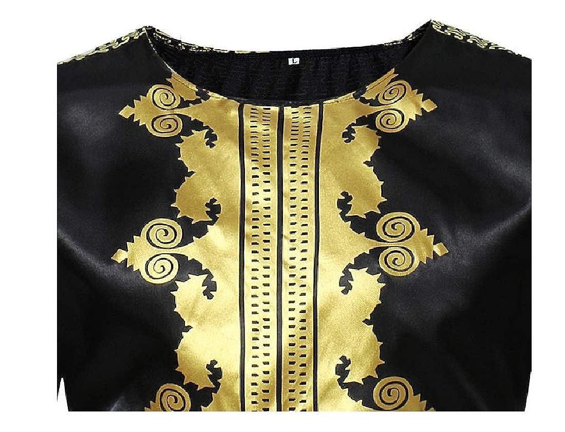 Highisa Mens Classic Floral Printed Regular Asymmetric Hem Tunic Shirt