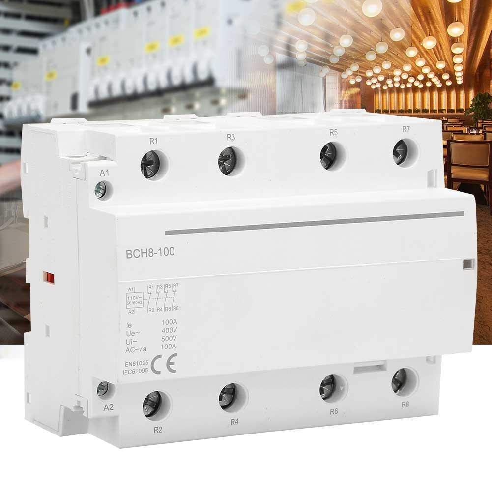 AC Contactor 100A 110V 30 Times//1h 4 Pole Household AC Contactor for Controlling Low-inductive Loads for Household Appliances 4NC