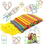 Straw Constructor STEM Building Toys 300 pcs Interlocking Plastic-Educational Toys Engineering Building Blocks