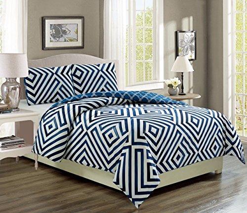 (KingLinen Cortez Navy/White Reversible Comforter Set Queen)