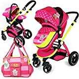 i-Safe System - MEA Lux Trio Travel System Pram & Luxury Stroller 3 in 1 Complete with Car Seat and Bag
