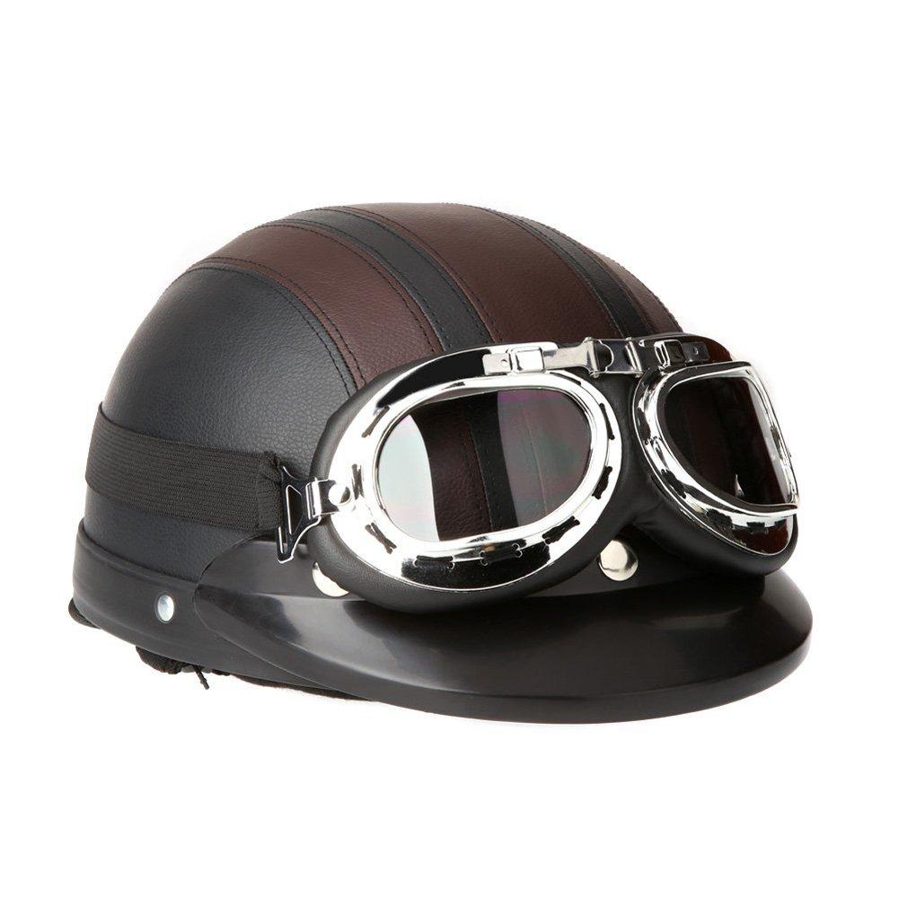 Cystyle Motorrad Scooter gesichtsoffen halbe Leder Helm mit Visier UV-Schutzbrillen Motorrad-Helm Helm Roller Retro Vintage DE-CY-TK-08