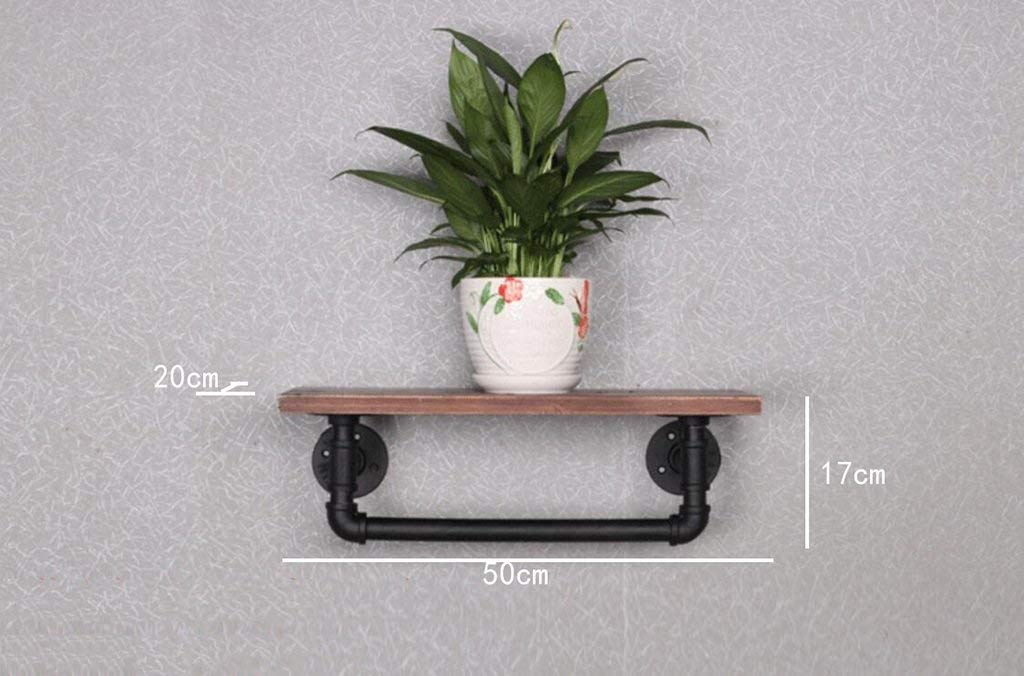 YANG Loft Retro Iron Bookcase Industrial Style Solid Wood Wall Hanging Shelves Plant Display Stand