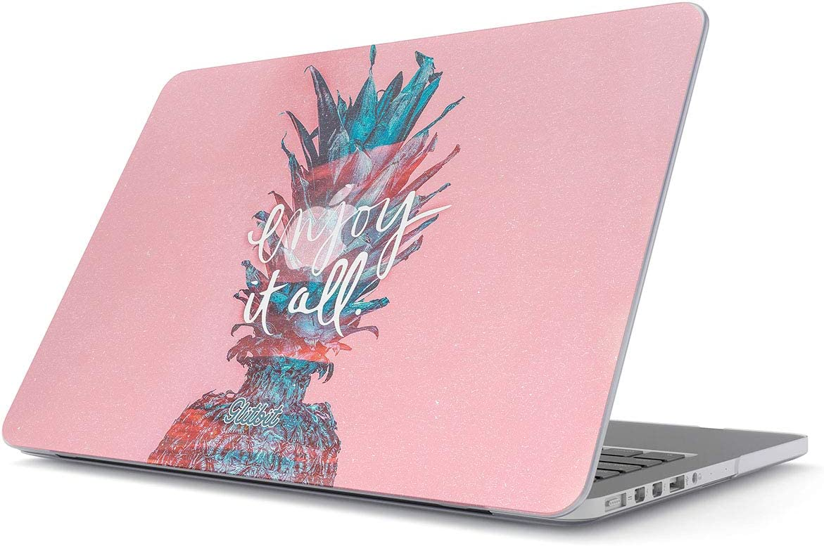 """Glitbit Hard Case Cover Compatible with MacBook Air 11 Inch Case, Model: A1370 / A1465 11-11.6 Inch 11"""" Enjoy It All Inspirational Inspiring Quote Love Life Tumblr Pineapple Good Vibes Positivity"""