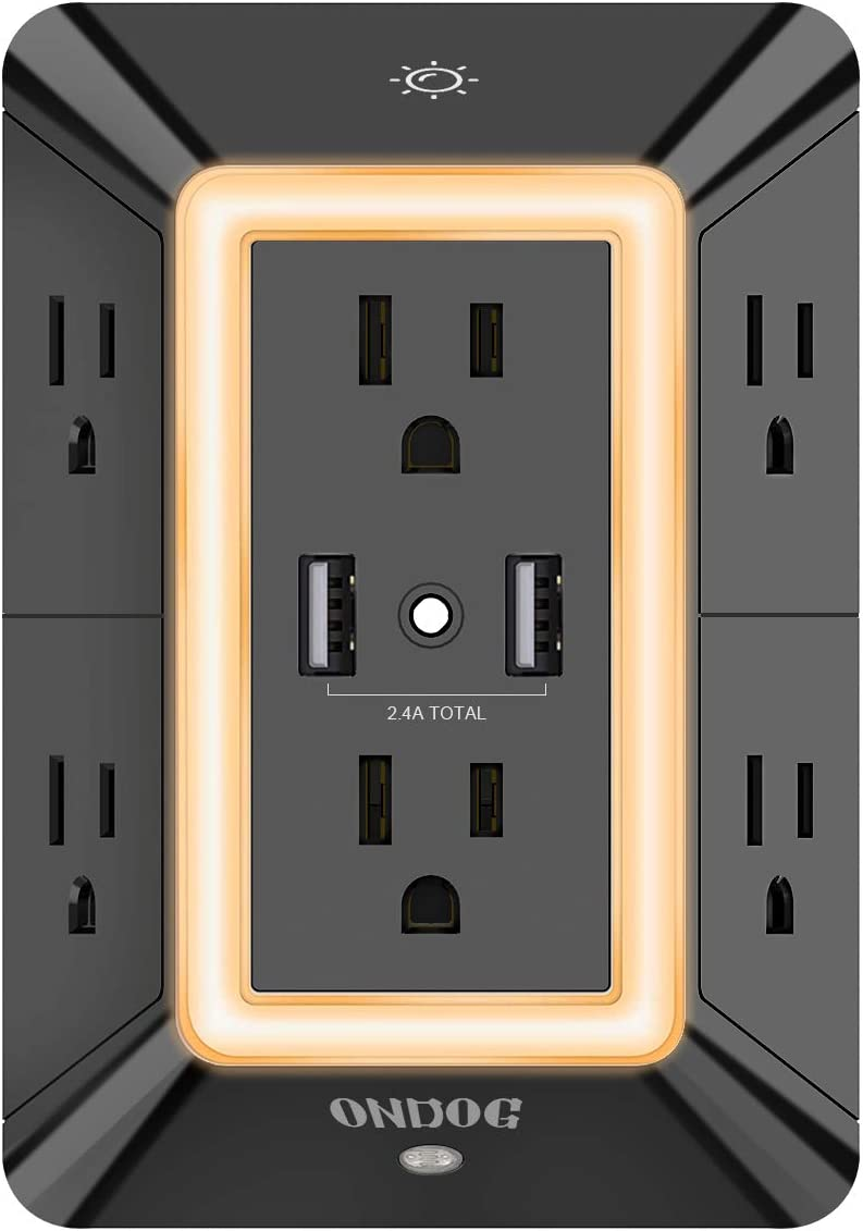 Multi Plug Outlet, Outlet Expanders, ONDOG Surge Protector with 6-Outlet Extender and 2 USB Ports and Night Light, 3-Sided Power Strip with Adapter Spaced Outlets - Black,ETL Listed