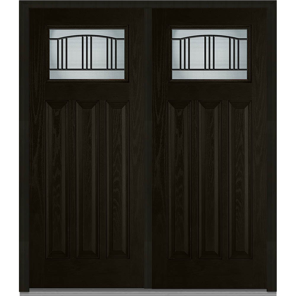 National Door Company Z007091R Fiberglass Oak Right Hand Prehung In-Swing Double Entry Door, Madison Decorative Glass, 3-Panel, 72'' x 80'', Espresso