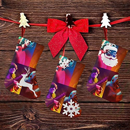 クリスマスの日の靴下 (ソックス3個)クリスマスデコレーションソックス 音楽Gorillaz クリスマス、ハロウィン 家庭用、ショッピングモール用、お祝いの雰囲気を加える 人気を高める、販売、プロモーション、年次式