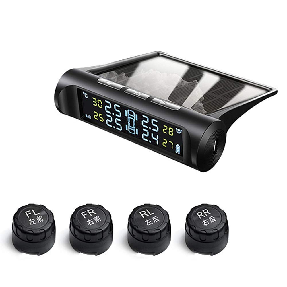SLHP TPMS Tyre Pressure Monitoring System with 4 Sensors LCD Real-Time Display Solar Energy Wireless Car Alarm System Auto Measure Tire Temperature and Pressure Black Built-in sensor