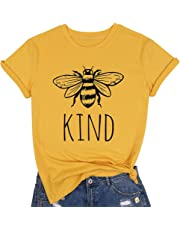 MOUSYA Women Graphic Tee of Bee Kind Short Sleeve Round Neck Casual T-Shirt for Lady