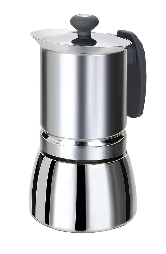 ROSSETTO cafetera italiana con mango, para inducción, acero inoxidable, color gris., acero inoxidable, 4 tazas