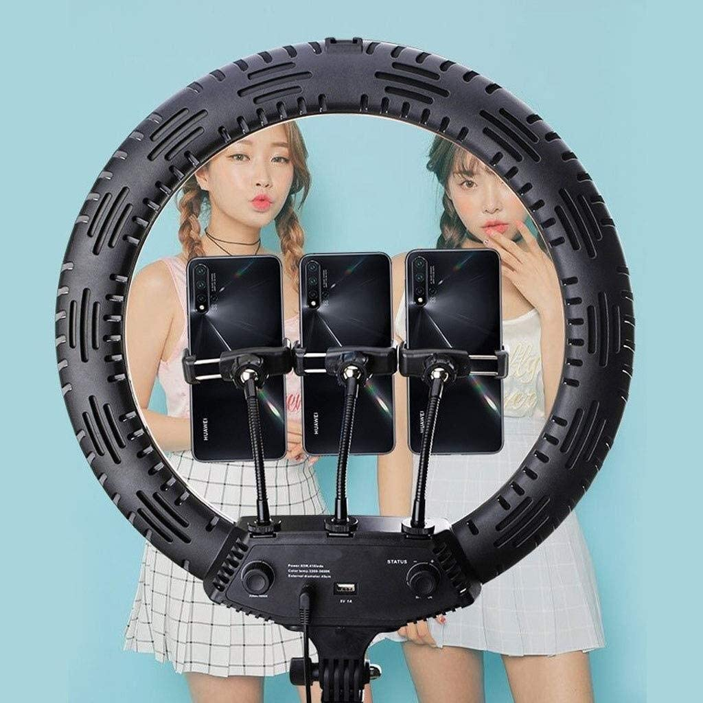 SUYIDAN Ring Light 18in LED Floor Ring Light with Tripod Middle Hose Phone Holder Fill Light Hot Shoe Mouth Interface Live Lamp ringlight Color : C Color : A ,Colour:C