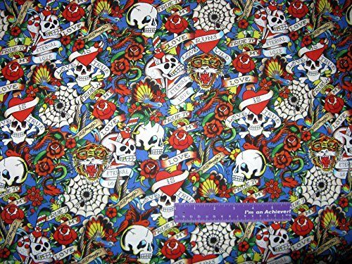 ED HARDY Love Is True Skull Roses Heart Pack Blue Cotton Fabric BY THE HALF ()