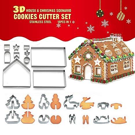 3D Christmas Cookie Cutter Set, UMIWE 18 piezas de acero inoxidable Pastelería Galletas Cortadores de
