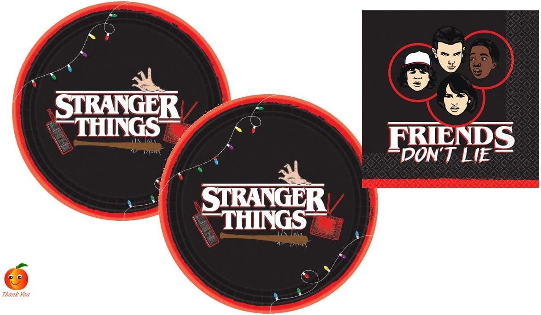 Juego de suministros para fiesta Stranger Things con platos de papel y servilletas para 16 por Amscan: Amazon.es: Juguetes y juegos
