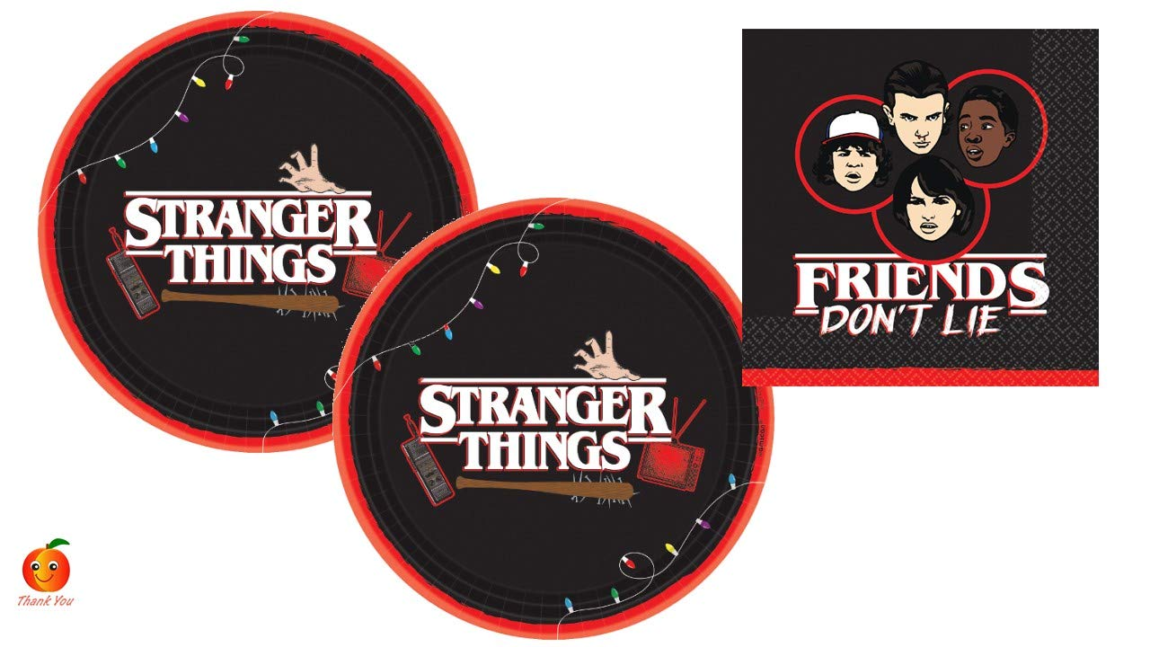 Stranger Things Party Supply Set with Paper Plates and Napkins for 16 by Amscan by Peach State