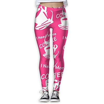 JCOE Yoga Need More Coffee Printed Women Stretchy Workout Running Yoga Pants Leggings Trousers