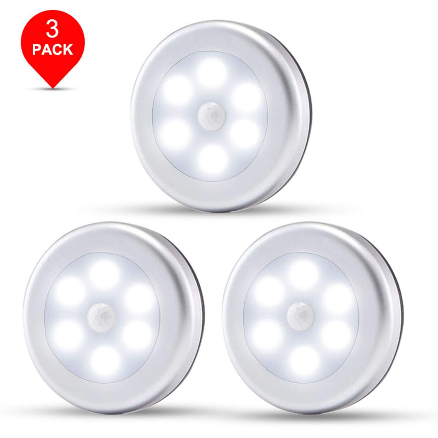 Motion Sensor Light, Wireless Battery Powered LED Night Lights Stick Anywhere Lamp for Home, Kitchen, Hallway, Cabinet, Closet, Stair, Bathroom (3-Pack White Light)