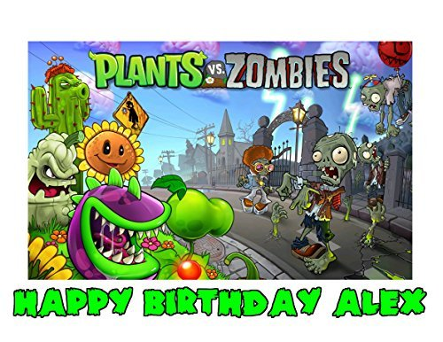 Plants Vs Zombies Edible Image Photo Sugar Frosting Icing Cake Topper Sheet Personalized Custom Customized Birthday Party - 1/4 Sheet - 76567]()
