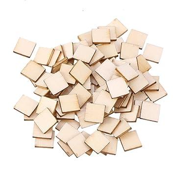 Amosfun 100 pcs 10 mm Woden Cuadros inachevés découpages Madera rodajas artesanía suspendida Adorno para Boda San Valentín: Amazon.es: Hogar