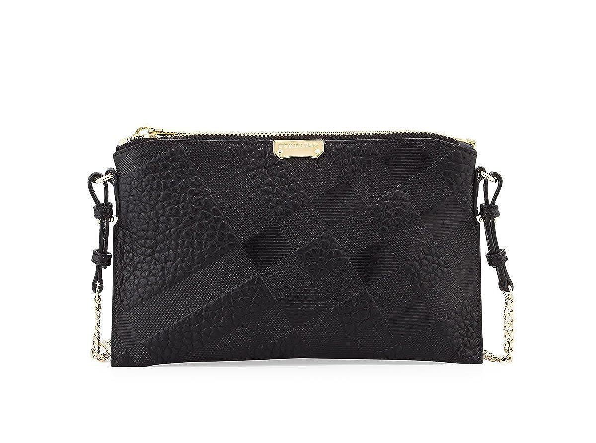 be3737fa3739 Amazon.com  Burberry Woman s Peyton Black Leather Grain Check Logo Crossbody  Messenger Bag  Shoes