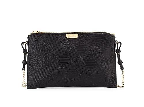 Burberry Woman s Peyton Black Leather Grain Check Logo Crossbody Messenger  Bag  Amazon.ca  Shoes   Handbags 7bf8bcab66