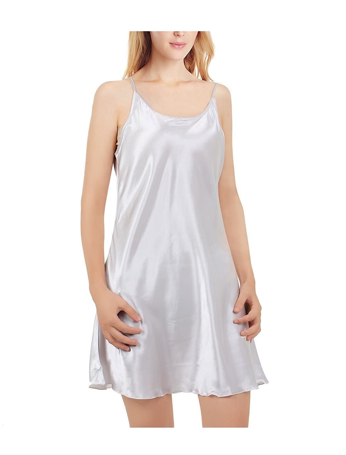 uxcell Women Silky Plus Size Lotus Leaf Hem Basic Dress Full Slip Camisole g17060700ux0139