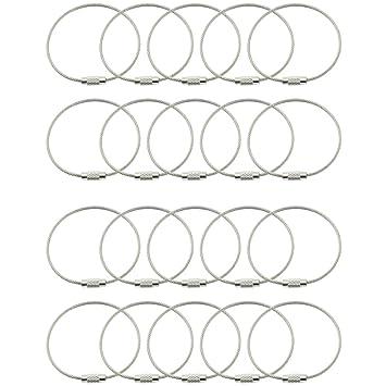 COM-FOUR® 20x Outdoor Edelstahl Schlüsselring, Spiraldraht ca. 16 cm ...