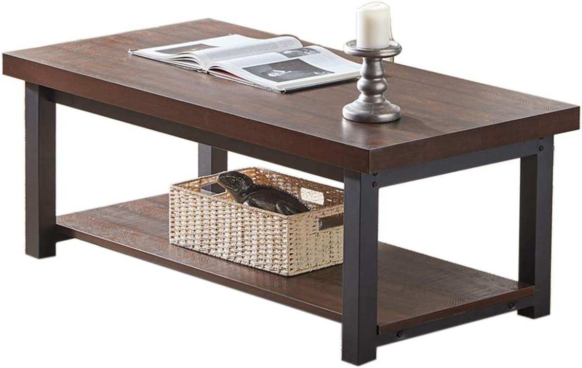SHOCOKO Coffee Table for Living Room, Industrial Wood and Metal Cocktail Table with Shelf, 47 Inch Espresso