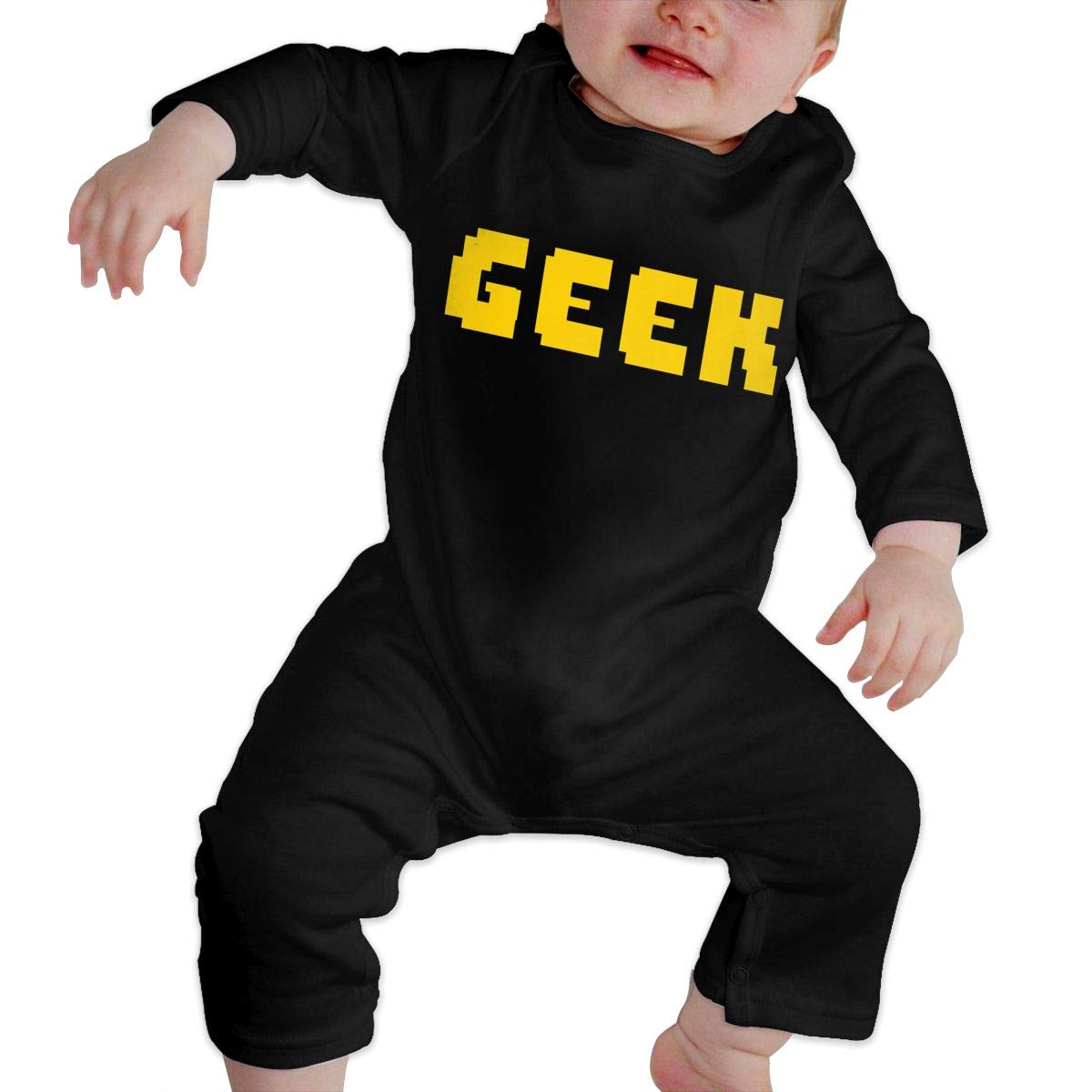 Baby O-Neck Long-Sleeve Pure Color Romper Geek 2 Farbig Crawling Clothes